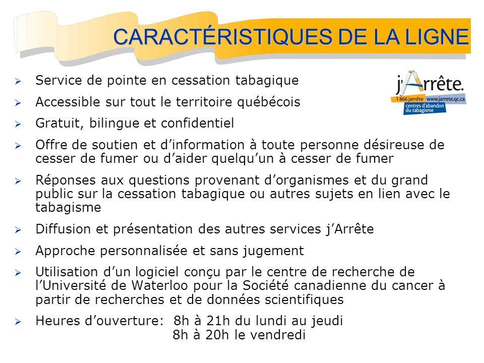 Service de pointe en cessation tabagique Accessible sur tout le territoire québécois Gratuit, bilingue et confidentiel Offre de soutien et dinformatio