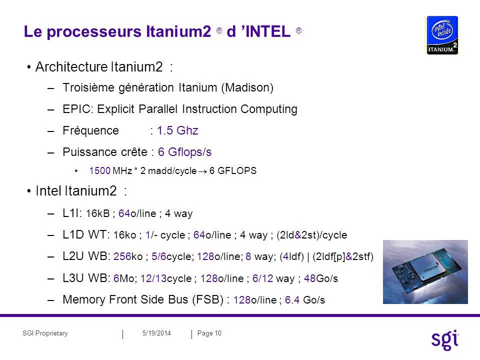 || 5/19/2014Page 11SGI Proprietary Le processeurs Itanium2 ® d INTEL ® Debits et latences : 128 FP Registers 1 ko 128 Integer Registers 1 ko L1D cache 16 ko L2U cache 256 ko L3U cache 1.5-6 Mo 32 Go/s 16 Go/s 32 Go/s 6.4 Go/s 2 cycles 5 cycles 12 cycles 5+1 cycles 12+1cycles 16 Go/s 16Rd / 6Wr Altix: 145+ ns