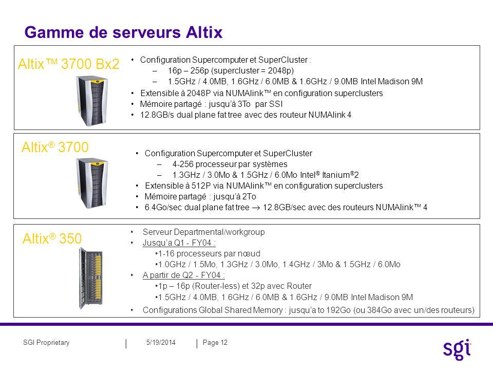 || 5/19/2014Page 12SGI Proprietary Gamme de serveurs Altix Configuration Supercomputer et SuperCluster –4-256 processeur par systèmes –1.3GHz / 3.0Mo