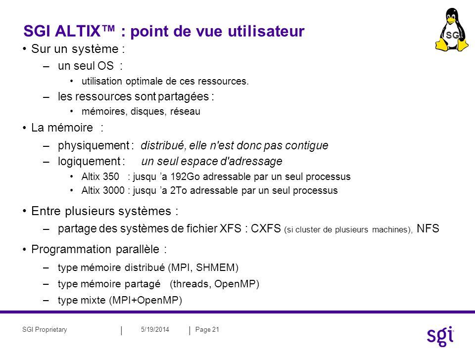 || 5/19/2014Page 22SGI Proprietary PLAN : Introduction à l ALTIX Développement sur ALTIX : –Les compilateurs –Debbuging –Bibliothèques optimisés sur ALTIX Utilisation des ALTIX Comprendre les performances sur ALTIX Ressources et documentation