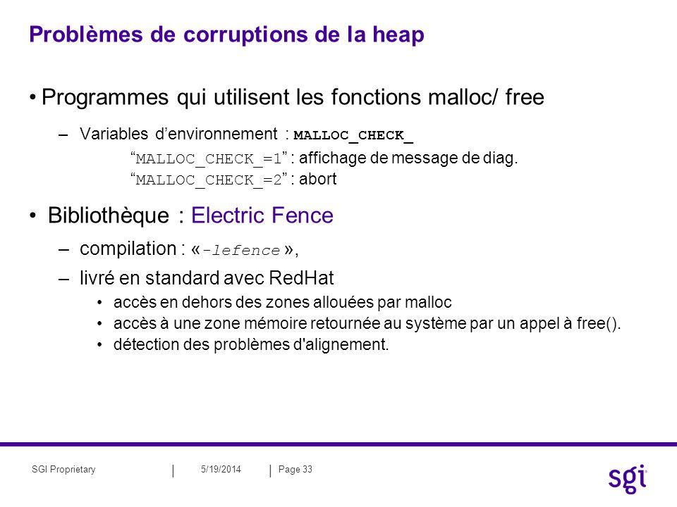 || 5/19/2014Page 33SGI Proprietary Problèmes de corruptions de la heap Programmes qui utilisent les fonctions malloc/ free –Variables denvironnement :