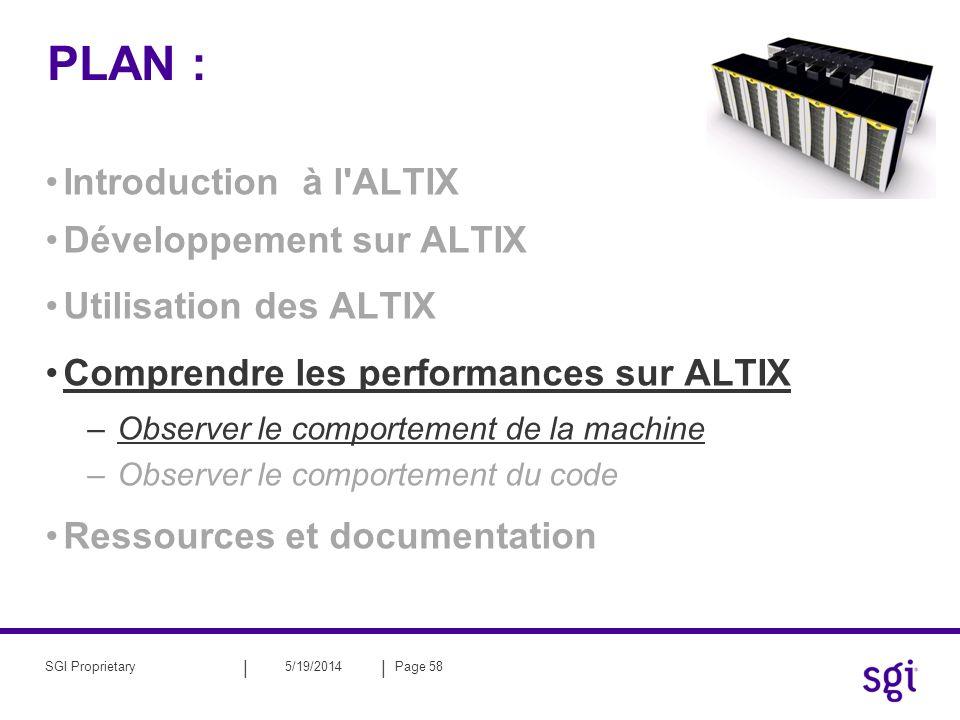 || 5/19/2014Page 58SGI Proprietary PLAN : Introduction à l'ALTIX Développement sur ALTIX Utilisation des ALTIX Comprendre les performances sur ALTIX –