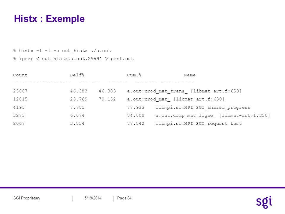 || 5/19/2014Page 64SGI Proprietary Histx : Exemple % histx -f -l -o out_histx./a.out % iprep prof.out CountSelf%Cum.%Name -------------------- -------