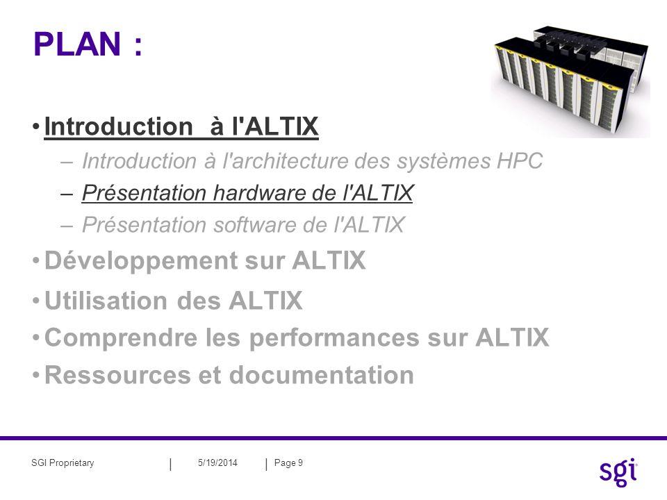 || 5/19/2014Page 10SGI Proprietary Le processeurs Itanium2 ® d INTEL ® Architecture Itanium2 : –Troisième génération Itanium (Madison) –EPIC: Explicit Parallel Instruction Computing –Fréquence : 1.5 Ghz –Puissance crête : 6 Gflops/s 1500 MHz * 2 madd/cycle 6 GFLOPS Intel Itanium2 : –L1I: 16kB ; 64o/line ; 4 way –L1D WT: 16ko ; 1/- cycle ; 64o/line ; 4 way ; (2ld&2st)/cycle –L2U WB: 256ko ; 5/6cycle; 128o/line; 8 way; (4ldf) | (2ldf[p]&2stf) –L3U WB: 6Mo; 12/13cycle ; 128o/line ; 6/12 way ; 48Go/s –Memory Front Side Bus (FSB) : 128o/line ; 6.4 Go/s