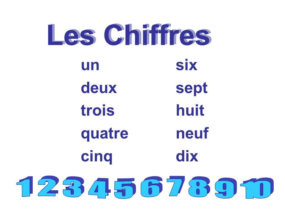 Les Chiffres un deux trois quatre cinq six sept huit neuf dix
