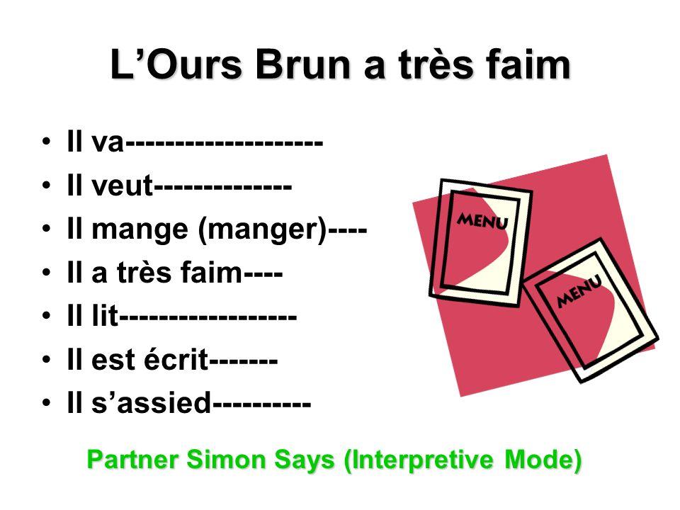 LOurs Brun a très faim Il va-------------------- Il veut-------------- Il mange (manger)---- Il a très faim---- Il lit------------------ Il est écrit------- Il sassied---------- Partner Simon Says (Interpretive Mode)