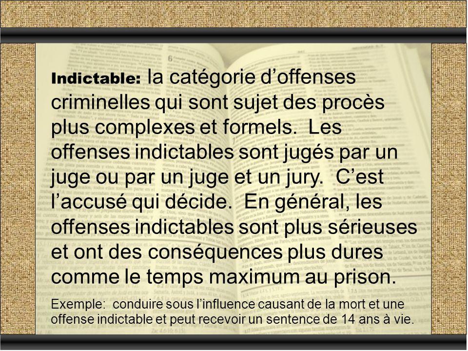 Indictable: la catégorie doffenses criminelles qui sont sujet des procès plus complexes et formels.