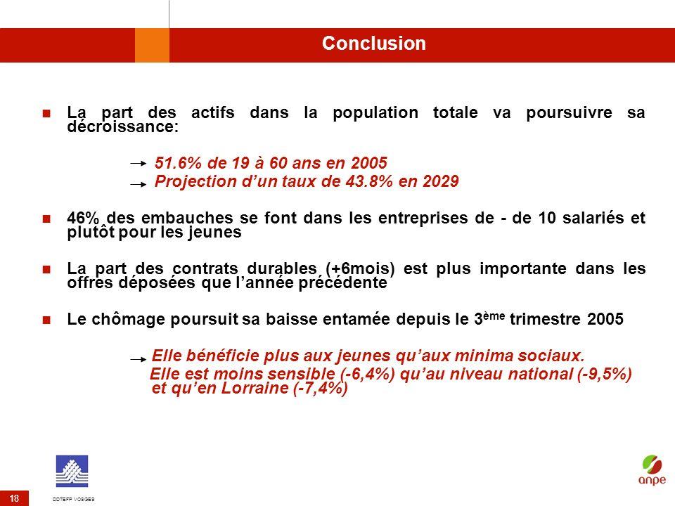 DDTEFP VOSGES 18 Conclusion La part des actifs dans la population totale va poursuivre sa décroissance: 51.6% de 19 à 60 ans en 2005 Projection dun ta