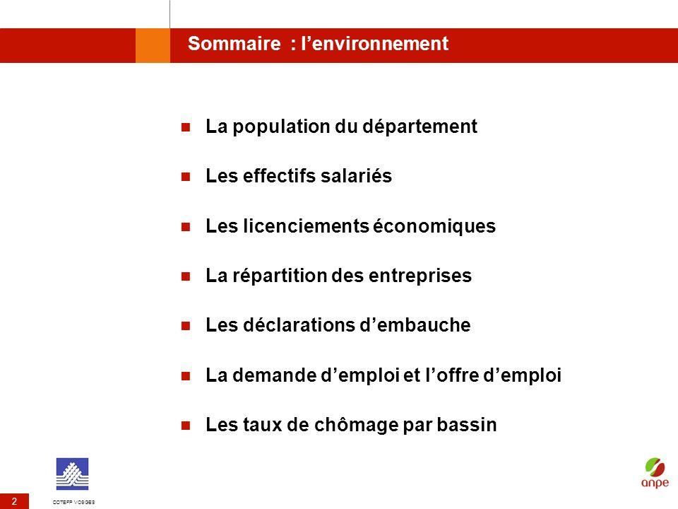 DDTEFP VOSGES 2 Sommaire : lenvironnement La population du département Les effectifs salariés Les licenciements économiques La répartition des entrepr