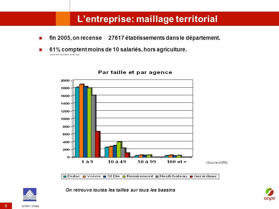 DDTEFP VOSGES 19 Les offres demploi enregistrées en 2005 19 123 offres demploi ont été confiées aux ALE en 2005 (source ANPE ) Plus de la moitié des embauches se font en CDD ou interim