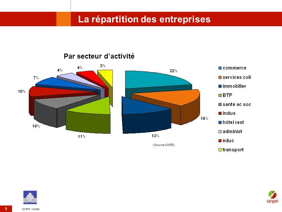 DDTEFP VOSGES 9 La répartition des entreprises Par secteur dactivité (Source ANPE)