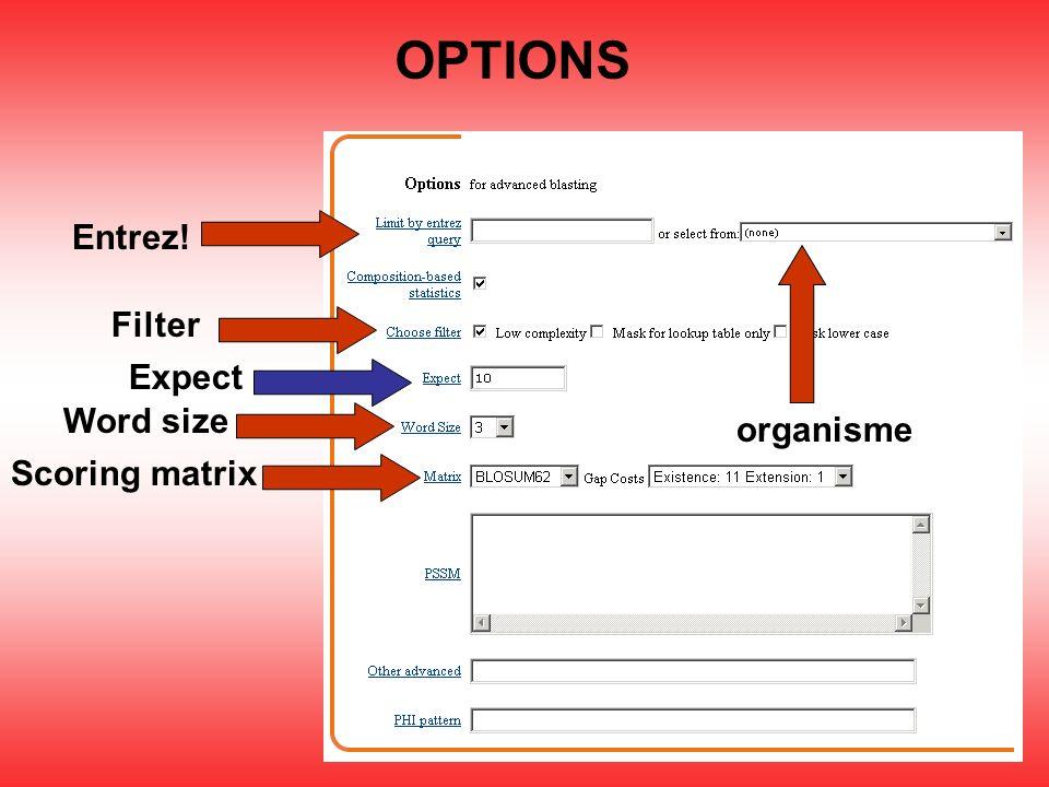 OPTIONS Entrez! Filter Scoring matrix Word size Expect organisme