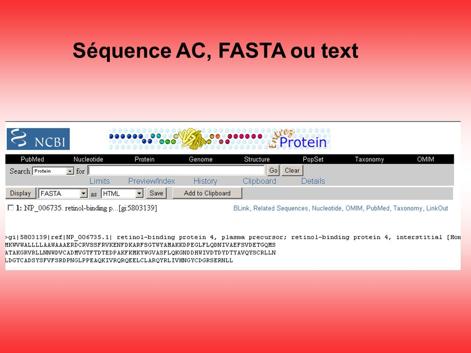 Séquence AC, FASTA ou text