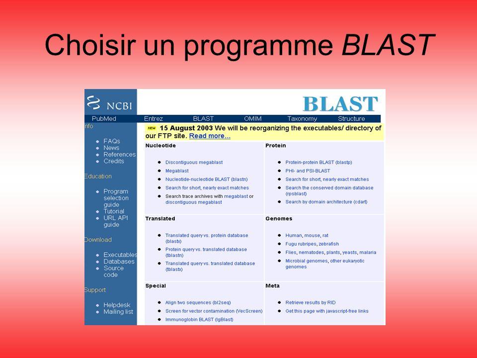 Choisir un programme BLAST