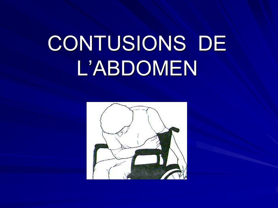 Les contusions de labdomen regroupent toutes les lésions engendrées par un traumatisme fermé au niveau des parois ou du contenu de la cavité abdominale.