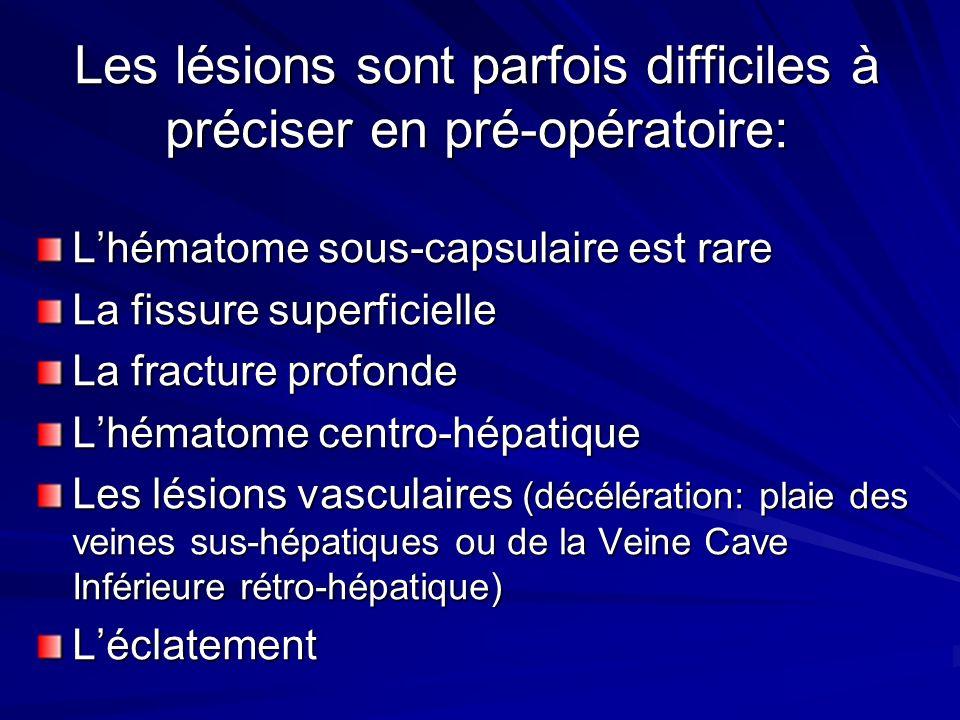 Les lésions sont parfois difficiles à préciser en pré-opératoire: Lhématome sous-capsulaire est rare La fissure superficielle La fracture profonde Lhé
