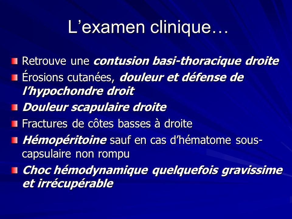 Lexamen clinique… Retrouve une contusion basi-thoracique droite Érosions cutanées, douleur et défense de lhypochondre droit Douleur scapulaire droite