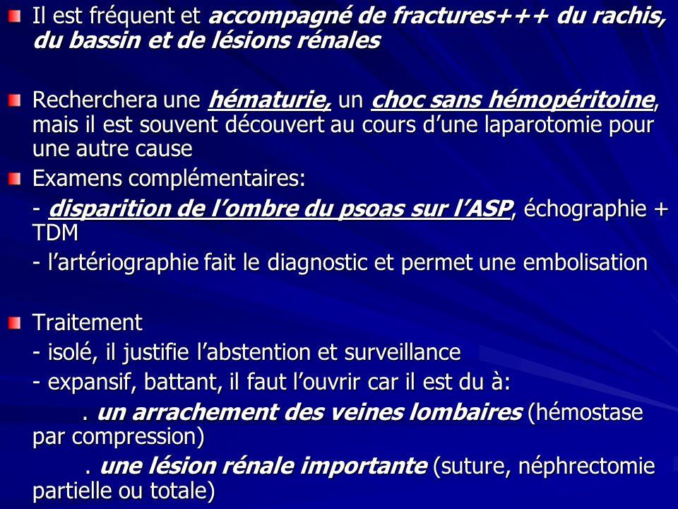 Il est fréquent et accompagné de fractures+++ du rachis, du bassin et de lésions rénales Recherchera une hématurie, un choc sans hémopéritoine, mais i