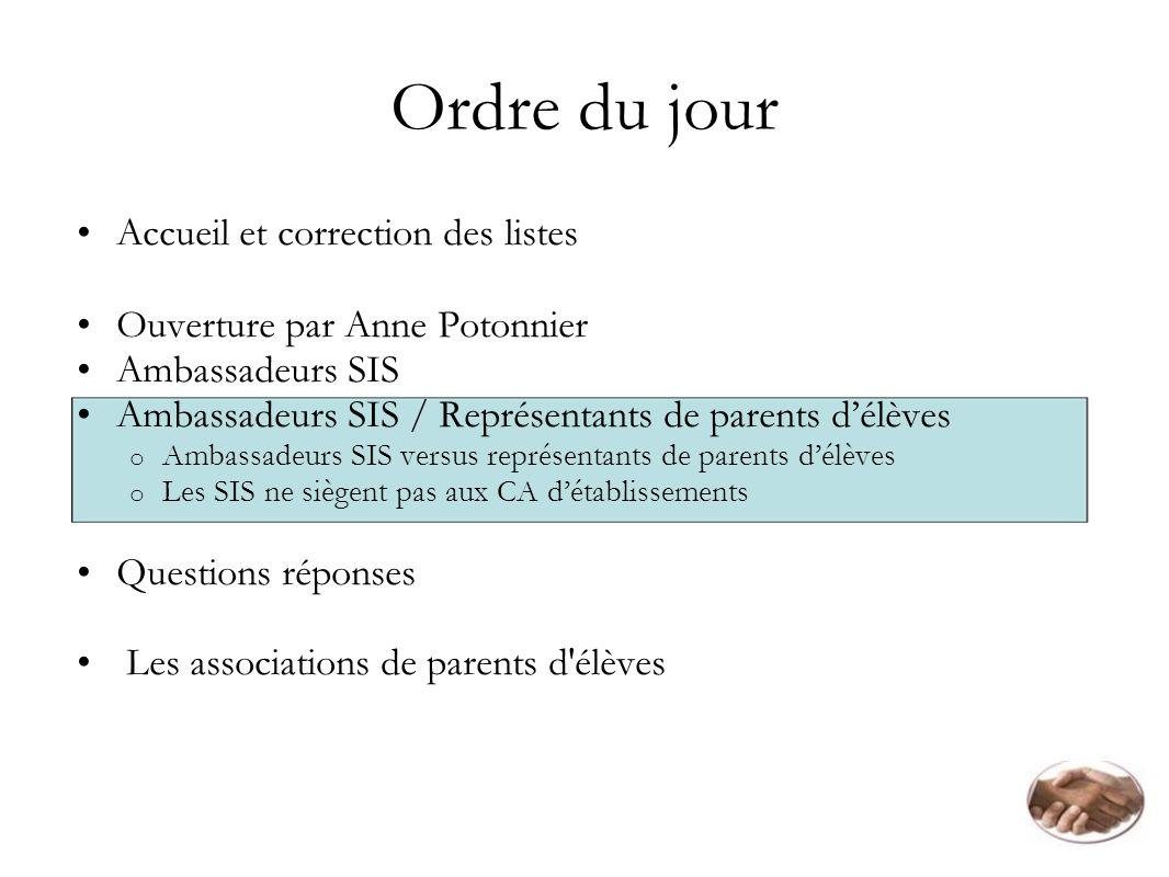 Accueil et correction des listes Ouverture par Anne Potonnier Ambassadeurs SIS Ambassadeurs SIS / Représentants de parents délèves o Ambassadeurs SIS