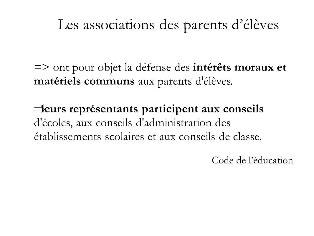 Les associations des parents délèves => ont pour objet la défense des intérêts moraux et matériels communs aux parents d'élèves. leurs représentants p