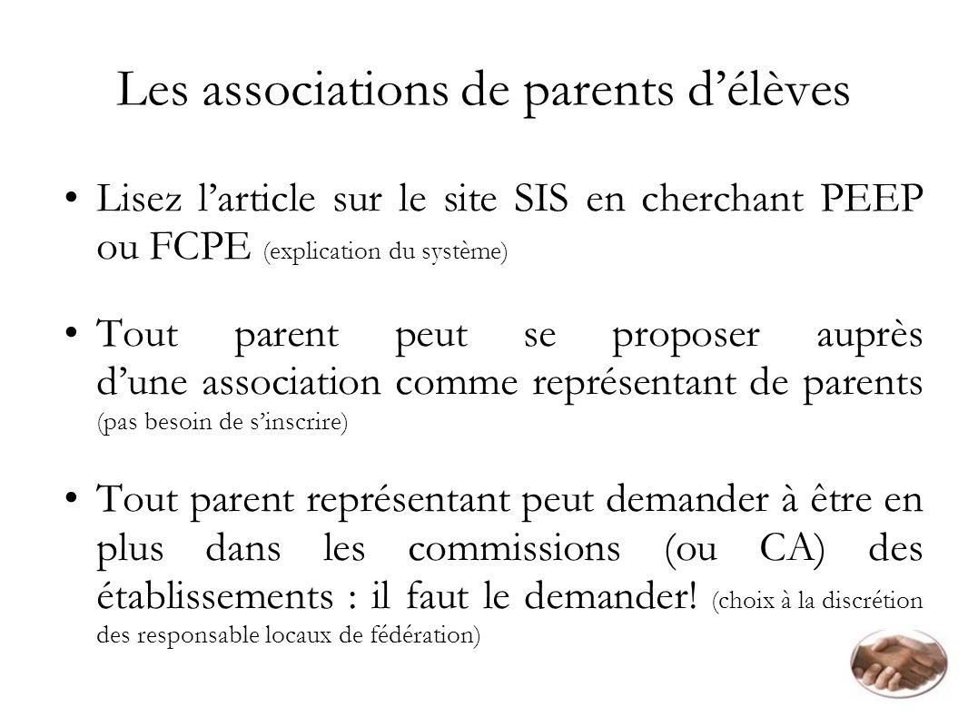 Les associations de parents délèves Lisez larticle sur le site SIS en cherchant PEEP ou FCPE (explication du système) Tout parent peut se proposer aup