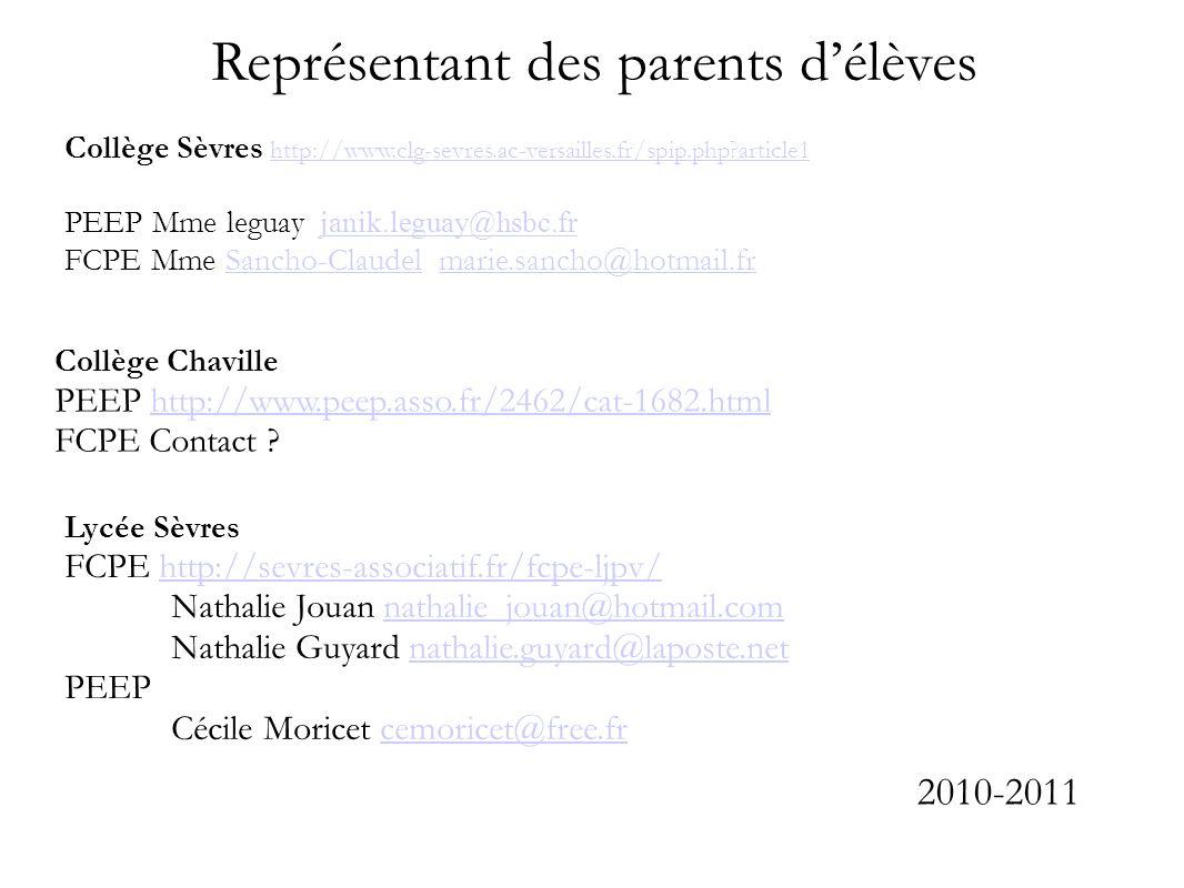 Représentant des parents délèves Collège Sèvres http://www.clg-sevres.ac-versailles.fr/spip.php?article1 http://www.clg-sevres.ac-versailles.fr/spip.p