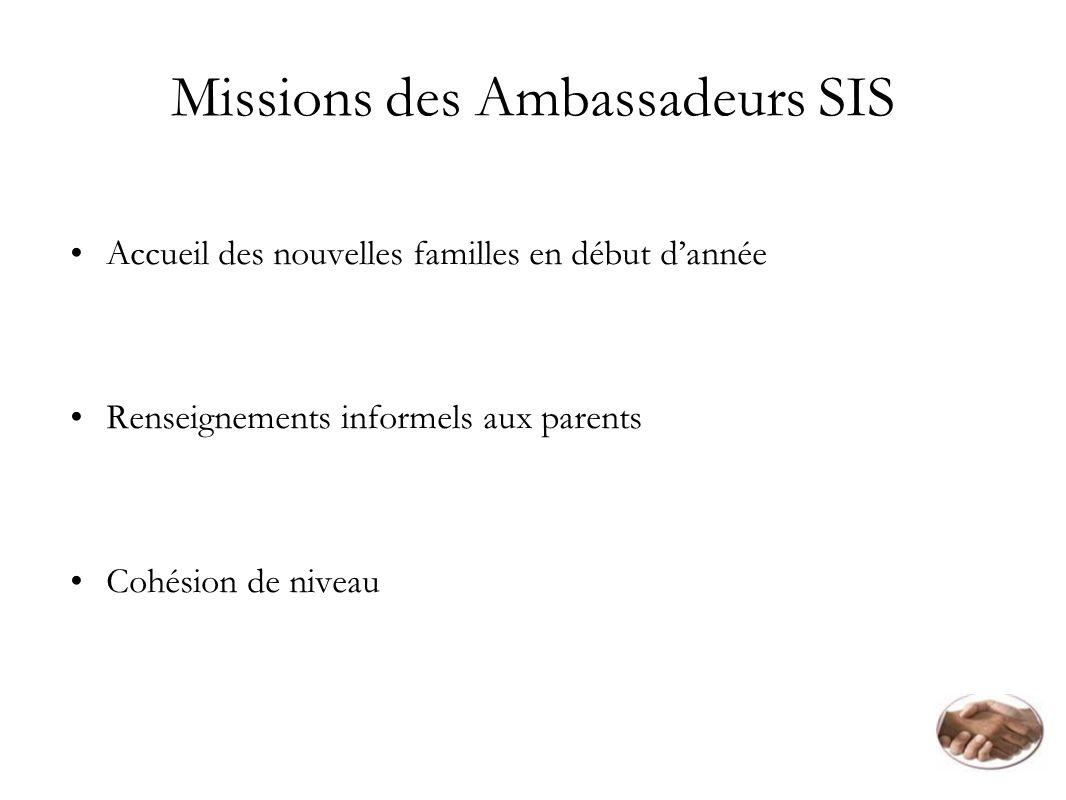Missions des Ambassadeurs SIS Accueil des nouvelles familles en début dannée Renseignements informels aux parents Cohésion de niveau