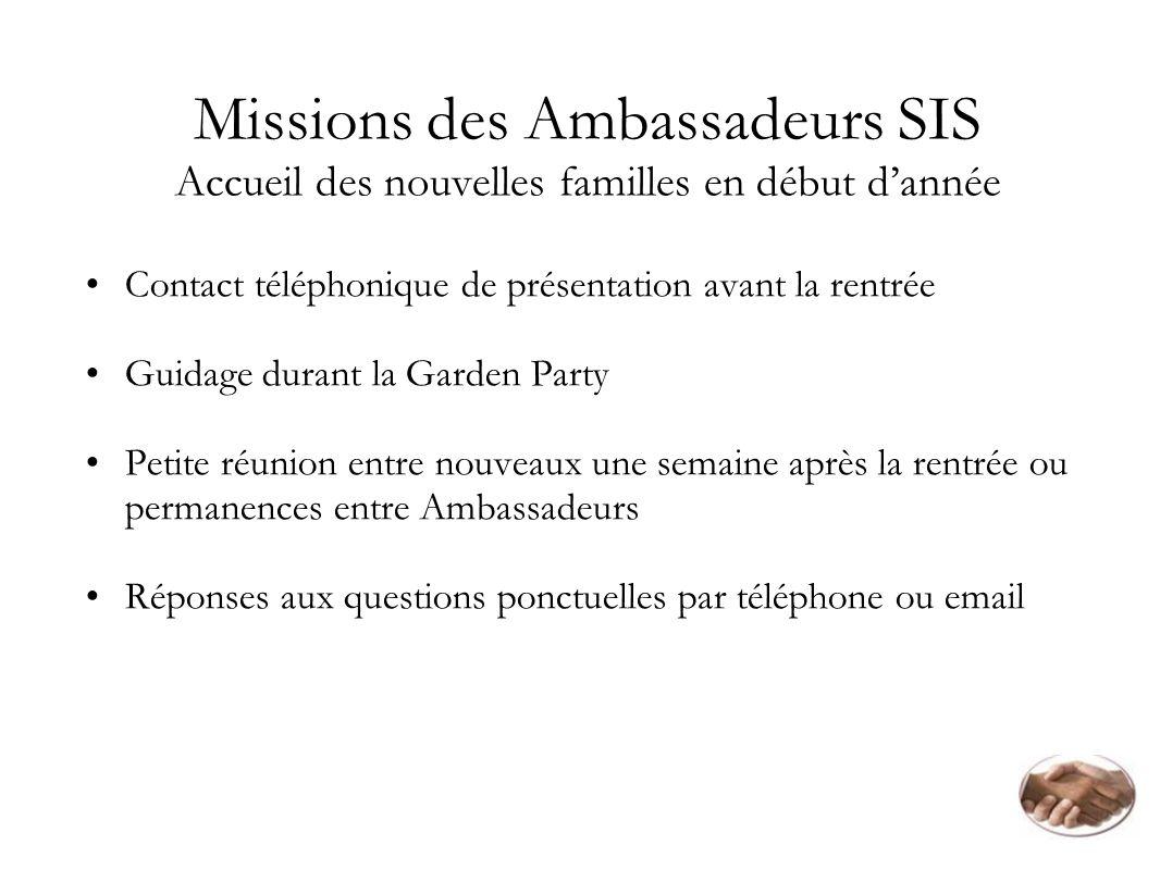 Missions des Ambassadeurs SIS Accueil des nouvelles familles en début dannée Contact téléphonique de présentation avant la rentrée Guidage durant la G