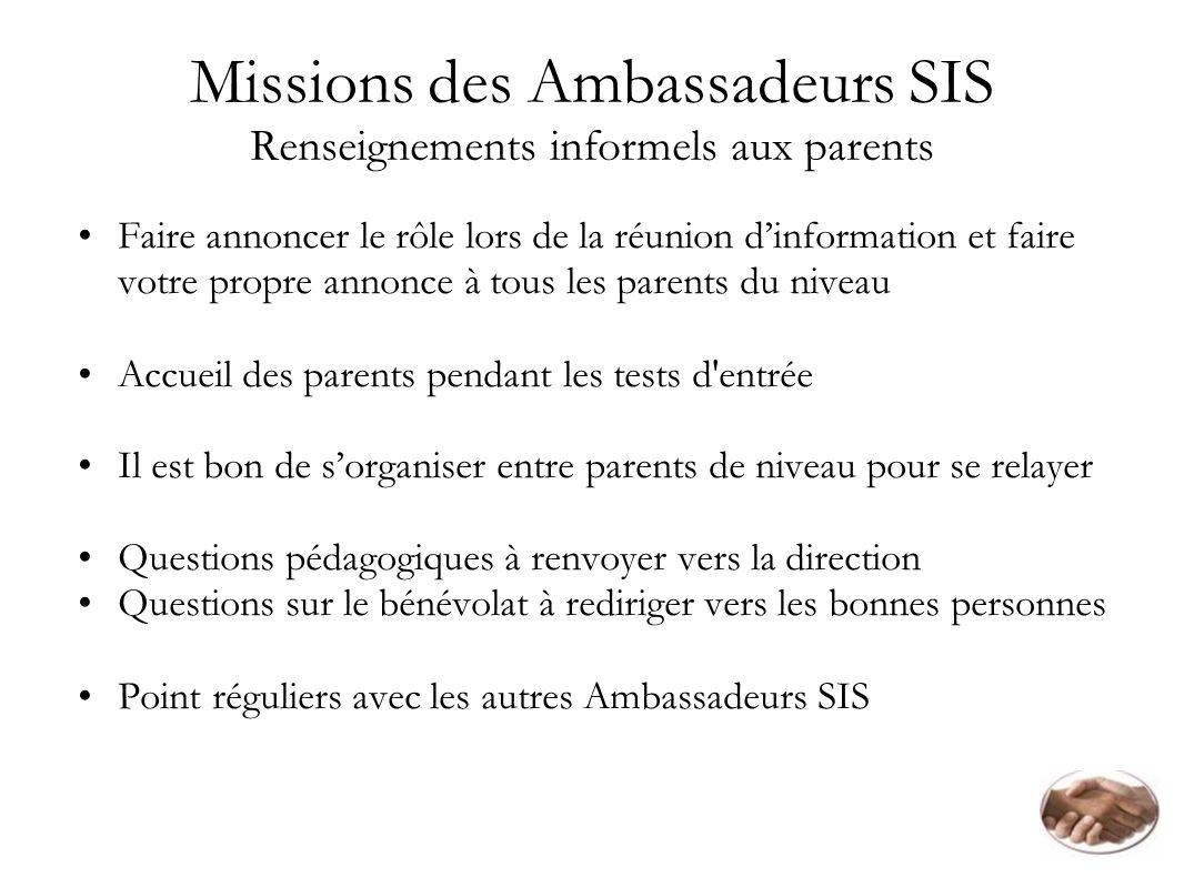 Missions des Ambassadeurs SIS Renseignements informels aux parents Faire annoncer le rôle lors de la réunion dinformation et faire votre propre annonc