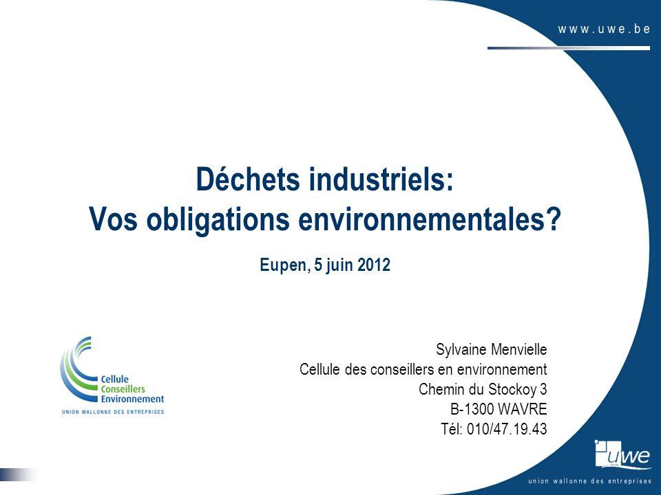 2 Plan de la présentation -LUnion Wallonne des Entreprises -La Cellule des Conseillers en Environnement de lUWE -Les obligations en matière de déchets industriels -Le contexte général -La législation « déchets » -Les déchets non-dangereux -Les déchets dangereux -En résumé -Les outils de la Cellule des Conseillers en Environnement -Conclusions