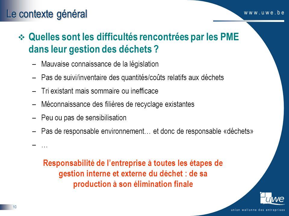 10 Quelles sont les difficultés rencontrées par les PME dans leur gestion des déchets ? –Mauvaise connaissance de la législation –Pas de suivi/inventa