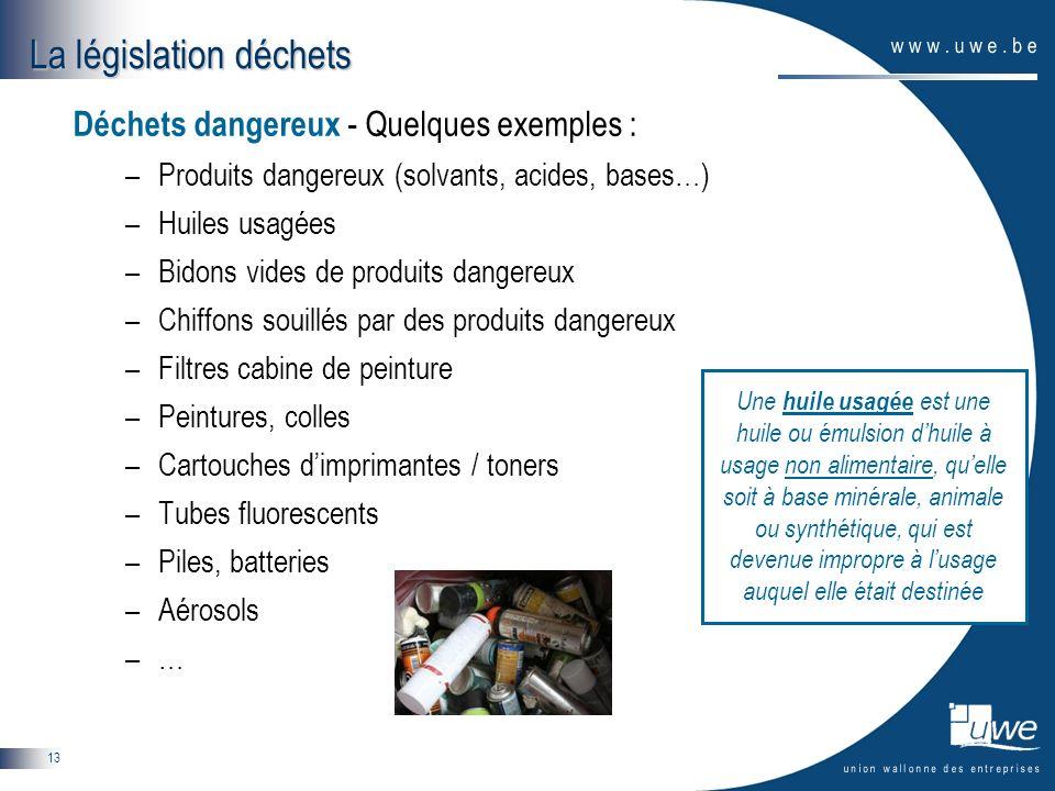 13 Déchets dangereux - Quelques exemples : –Produits dangereux (solvants, acides, bases…) –Huiles usagées –Bidons vides de produits dangereux –Chiffon