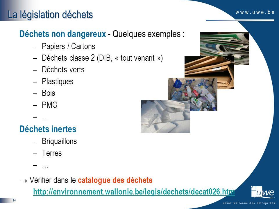 14 Déchets non dangereux - Quelques exemples : –Papiers / Cartons –Déchets classe 2 (DIB, « tout venant ») –Déchets verts –Plastiques –Bois –PMC –… Dé