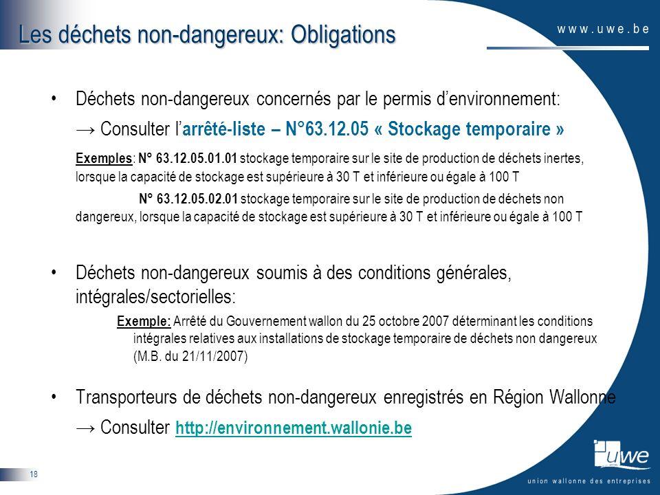 18 Les déchets non-dangereux: Obligations Déchets non-dangereux concernés par le permis denvironnement: Consulter l arrêté-liste – N°63.12.05 « Stocka
