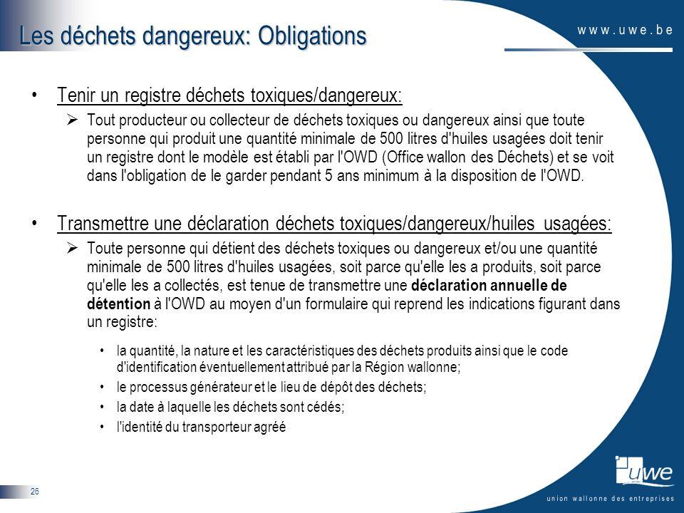 26 Les déchets dangereux: Obligations Tenir un registre déchets toxiques/dangereux: Tout producteur ou collecteur de déchets toxiques ou dangereux ain