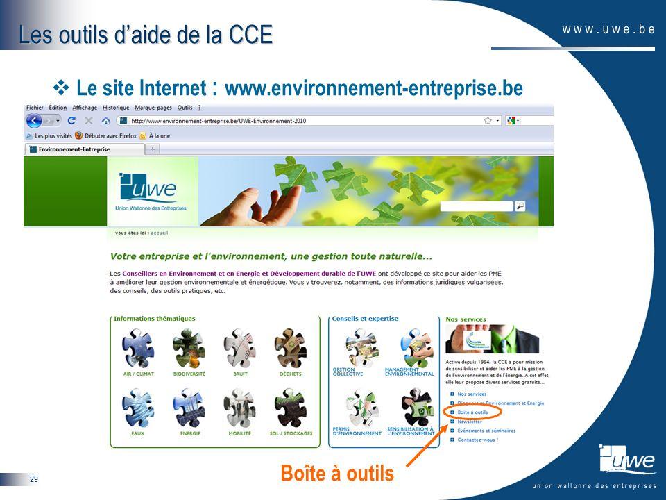 29 Les outils daide de la CCE Le site Internet : www.environnement-entreprise.be Boîte à outils