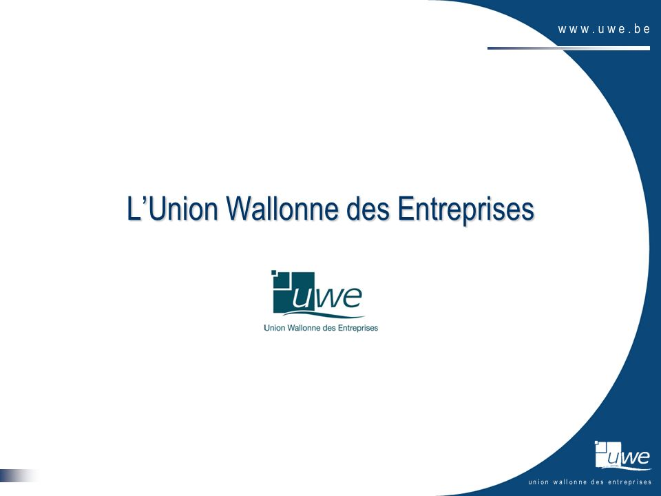 4 Fédération patronale (± 6000 membres) Organisation privée (asbl) Staff permanent (± 20 personnes) Mission : « promouvoir et soutenir lentreprise, moteur du développement économique et social de la Wallonie » Champ de compétences : – les matières intersectorielles (qui touchent plusieurs secteurs) – dans les compétences de la RW et de la Communauté française « Actions de terrain » (± 30 personnes) = projets dotés de financements spécifiques (environnement, énergie, mobilité, marketing international, NCP…)