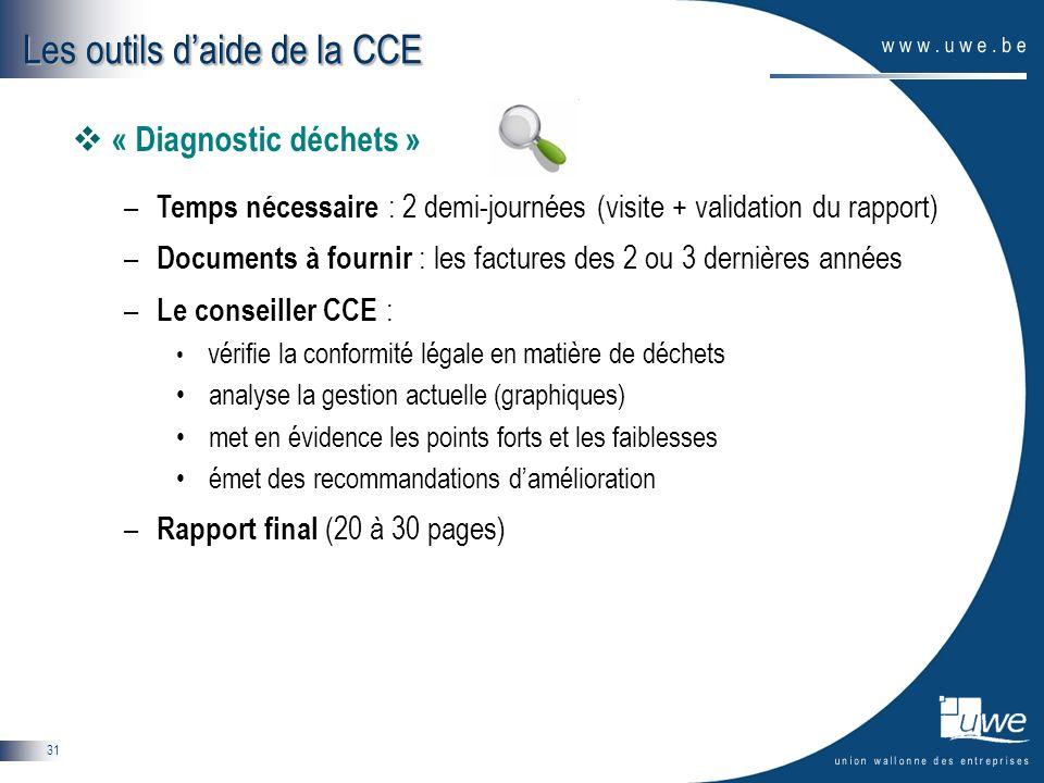 31 « Diagnostic déchets » – Temps nécessaire : 2 demi-journées (visite + validation du rapport) – Documents à fournir : les factures des 2 ou 3 derniè