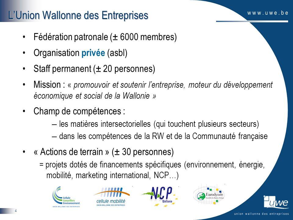 4 Fédération patronale (± 6000 membres) Organisation privée (asbl) Staff permanent (± 20 personnes) Mission : « promouvoir et soutenir lentreprise, mo