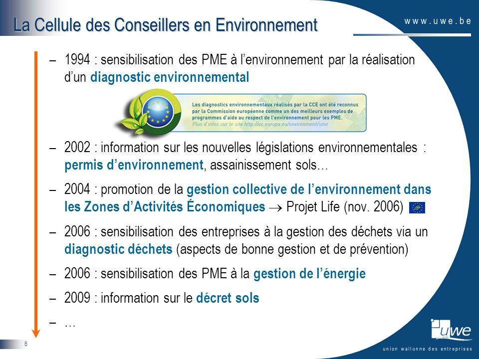 6 –1994 : sensibilisation des PME à lenvironnement par la réalisation dun diagnostic environnemental –2002 : information sur les nouvelles législation