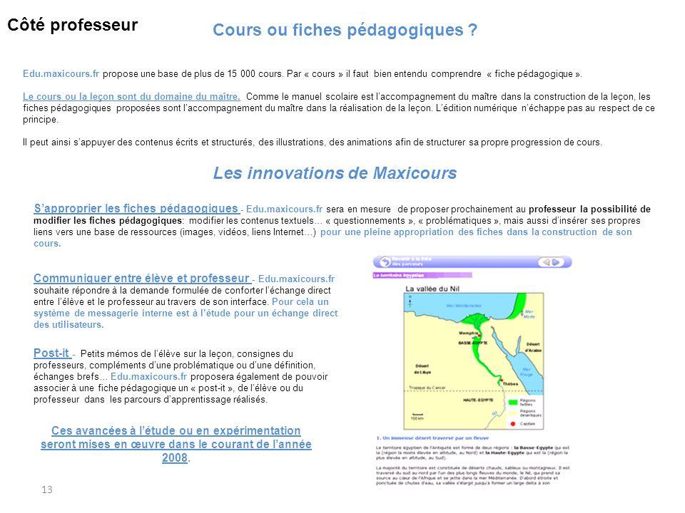 13 Cours ou fiches pédagogiques ? Edu.maxicours.fr propose une base de plus de 15 000 cours. Par « cours » il faut bien entendu comprendre « fiche péd