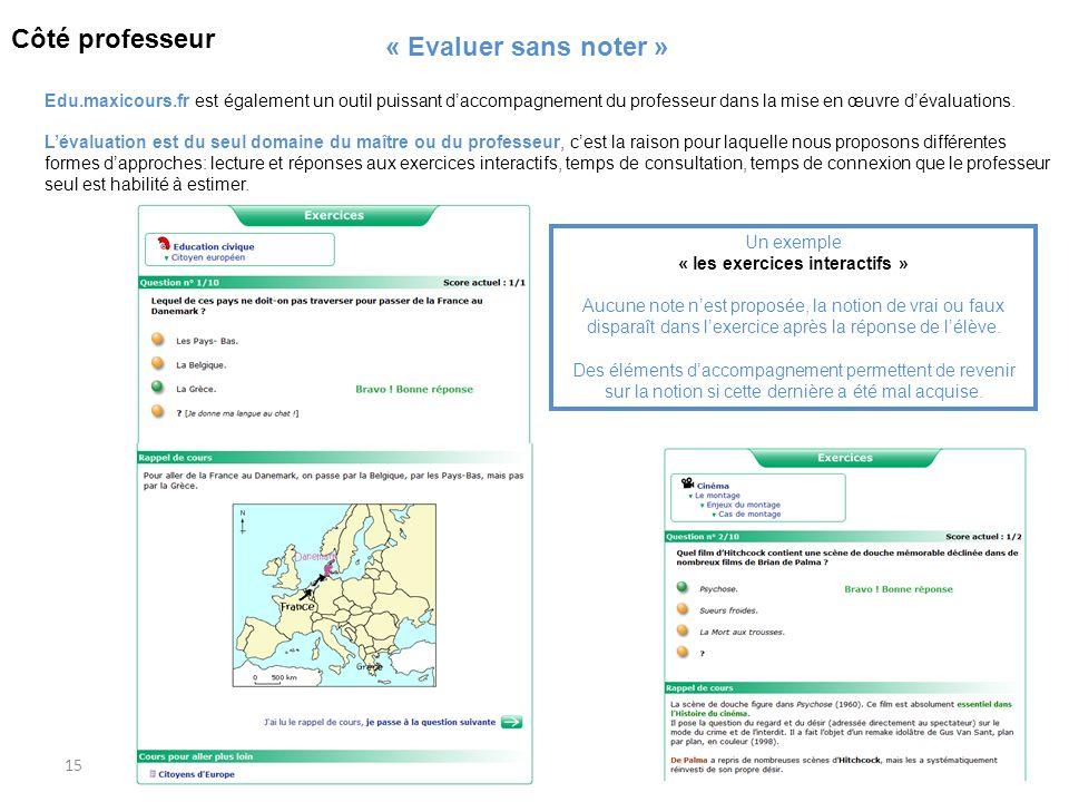 15 Edu.maxicours.fr est également un outil puissant daccompagnement du professeur dans la mise en œuvre dévaluations. Un exemple « les exercices inter