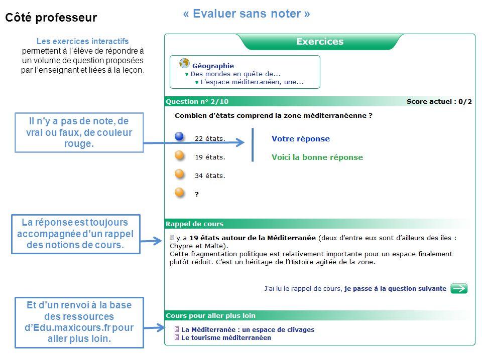 Les exercices interactifs permettent à lélève de répondre à un volume de question proposées par lenseignant et liées à la leçon. « Evaluer sans noter