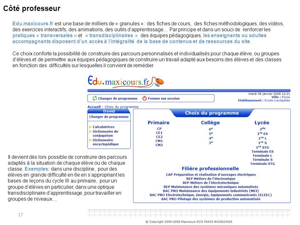 17 Côté professeur Edu.maxicours.fr est une base de milliers de « granules »: des fiches de cours, des fiches méthodologiques, des vidéos, des exercic