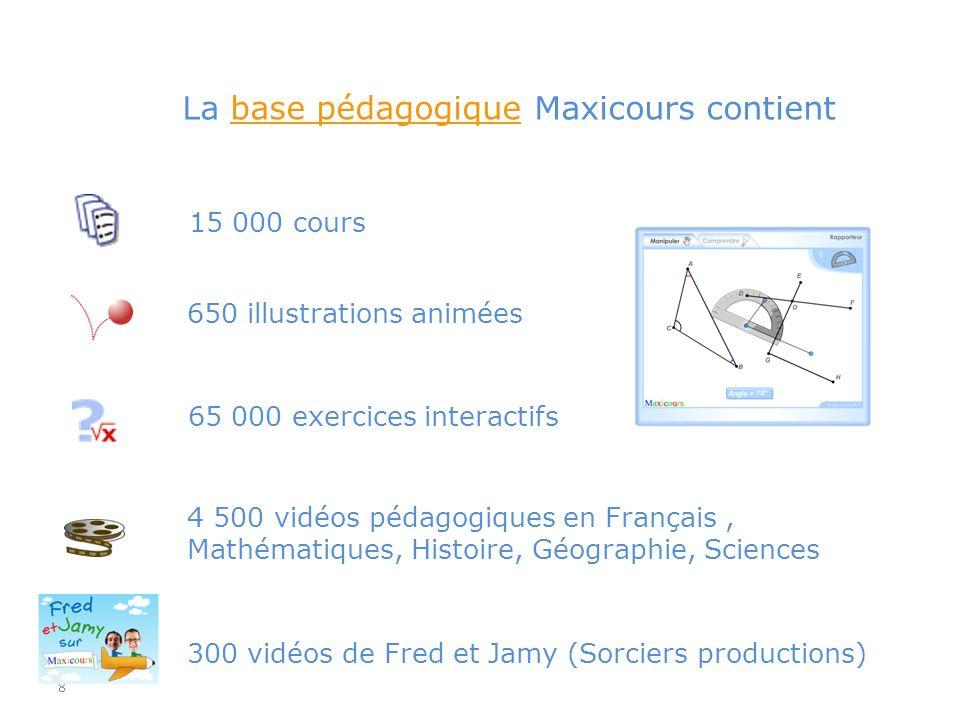 8 650 illustrations animées 4 500 vidéos pédagogiques en Français, Mathématiques, Histoire, Géographie, Sciences La base pédagogique Maxicours contien