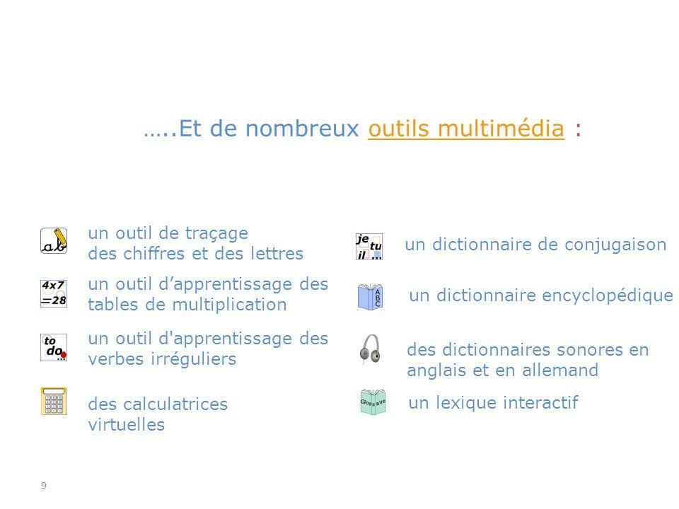 9 un dictionnaire de conjugaison des dictionnaires sonores en anglais et en allemand un dictionnaire encyclopédique un lexique interactif …..Et de nom