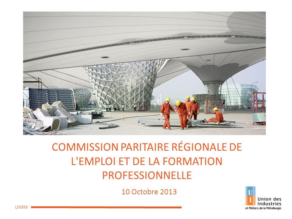 CPREFP du 10 octobre 2013 UIMM COMMISSION PARITAIRE RÉGIONALE DE L'EMPLOI ET DE LA FORMATION PROFESSIONNELLE 10 Octobre 2013