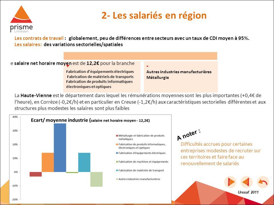 Les contrats de travail : globalement, peu de différences entre secteurs avec un taux de CDI moyen à 95%. Les salaires: des variations sectorielles/sp