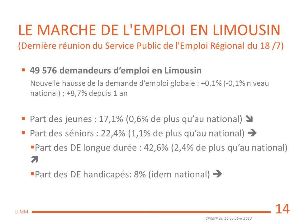 CPREFP du 10 octobre 2013 UIMM LE MARCHE DE L'EMPLOI EN LIMOUSIN (Dernière réunion du Service Public de l'Emploi Régional du 18 /7) 49 576 demandeurs