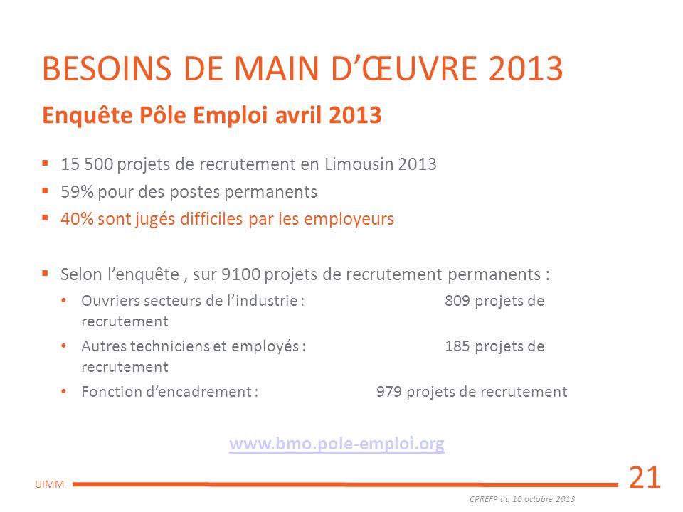 CPREFP du 10 octobre 2013 UIMM BESOINS DE MAIN DŒUVRE 2013 15 500 projets de recrutement en Limousin 2013 59% pour des postes permanents 40% sont jugé